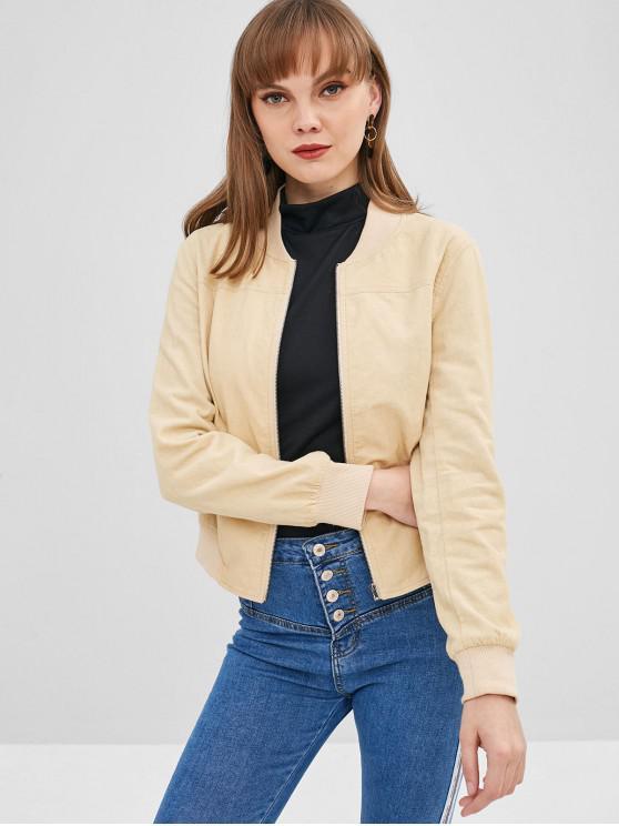 trendy ZAFUL Zip Up Corduroy Pocket Jacket - APRICOT L