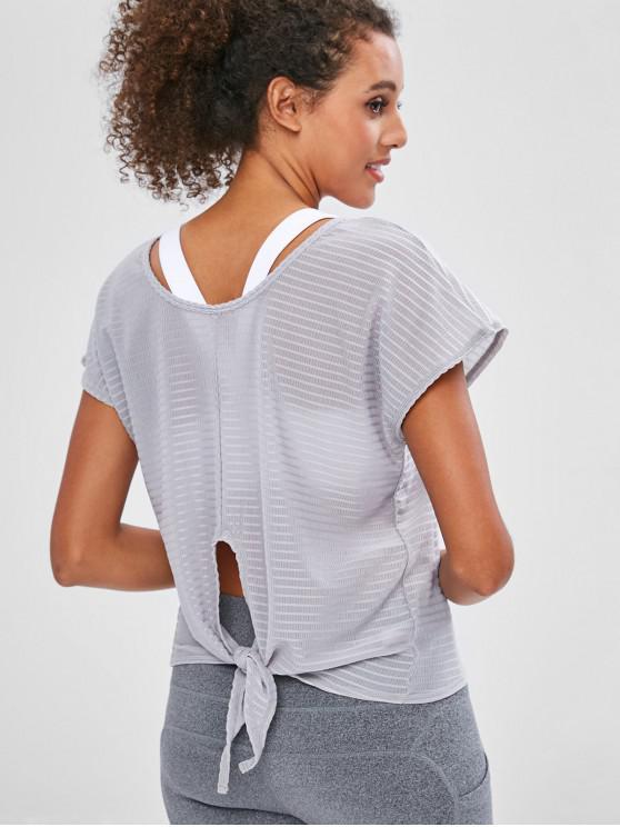 women Tie Back Batwing Sleeve Sport T-shirt - GRAY M