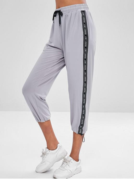 hot Drawstring Letter Crop Pants - GRAY L