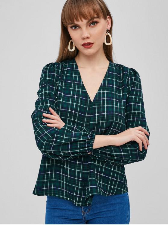 online ZAFUL V Neck Plaid Pullover Blouse - DARK GREEN M