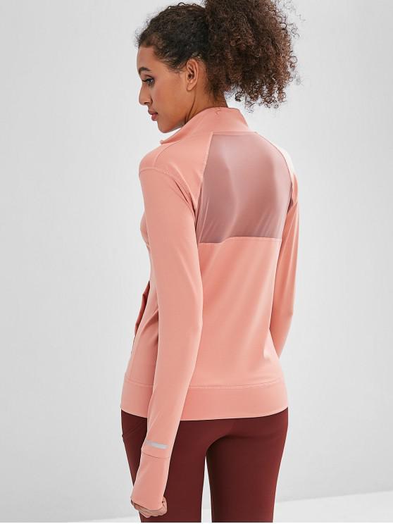 latest Zipper Mesh Insert Jacket with Armhole - ROSE L