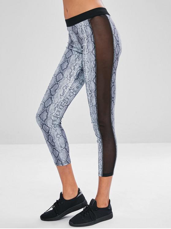 sale Snake Print Mesh Insert Yoga Leggings - MULTI L