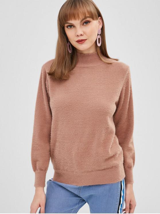 Fuzzy Knit Mock Neck Sweater - Dunkler Salm Eine Größe