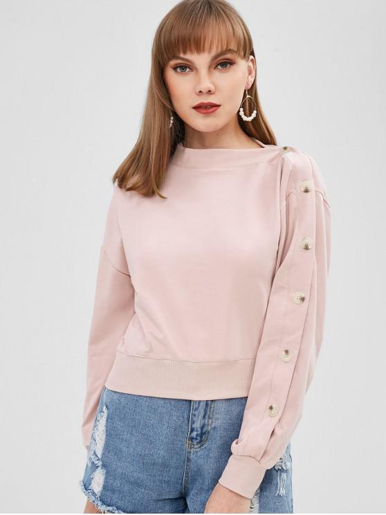 affordable Contrasting Buttons Asymmetrical Neck Sweatshirt - LIGHT PINK M