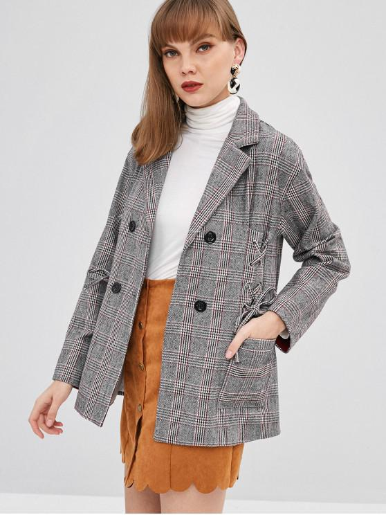 Manteau Blazer à Carreaux à Col Revers à Lacets - Gris S