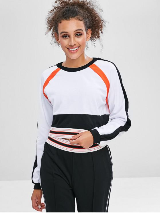 fashion Striped Raglan Sleeve Crop Sweatshirt - WHITE L