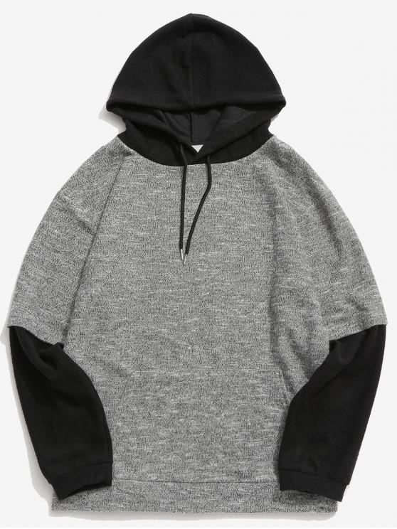 buy Contrast False Two Piece Hoodie - GRAY XL