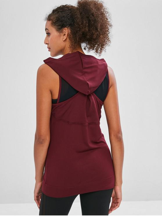 affordable Mesh Insert Twisted Sleeveless Hoodie - RED WINE L