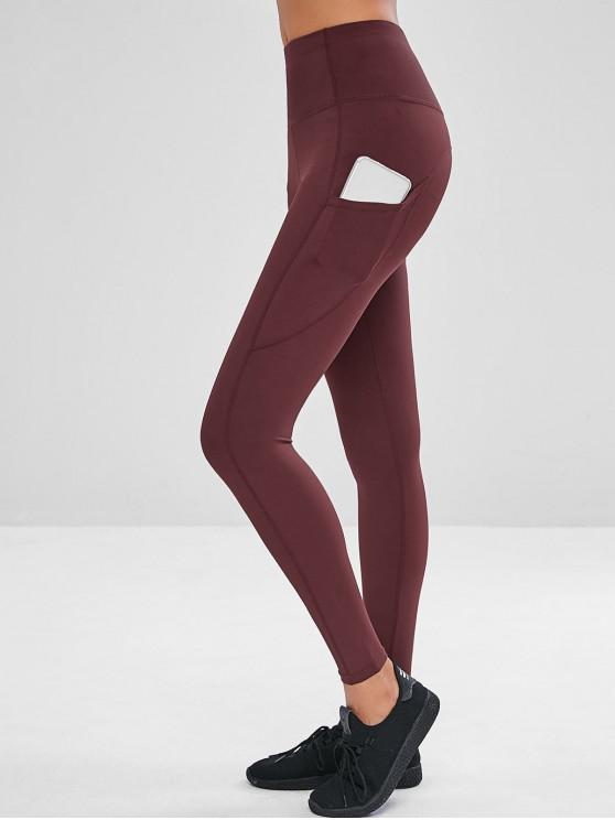 women Side Pocket High Waisted Yoga Leggings - RED WINE M