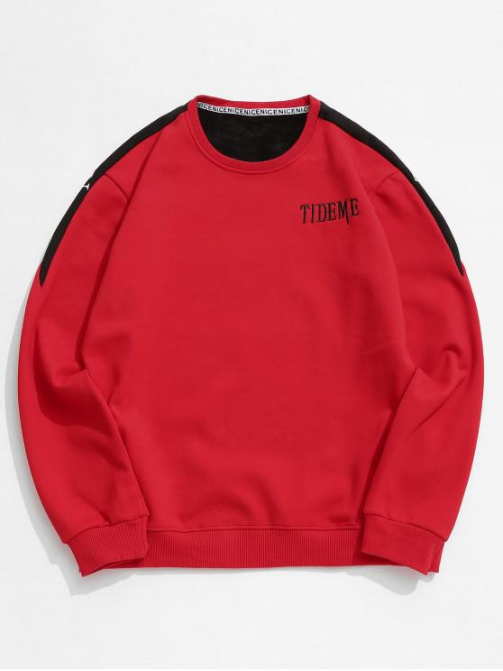fancy Contrast Letter Fleece Sweatshirt - RED XS