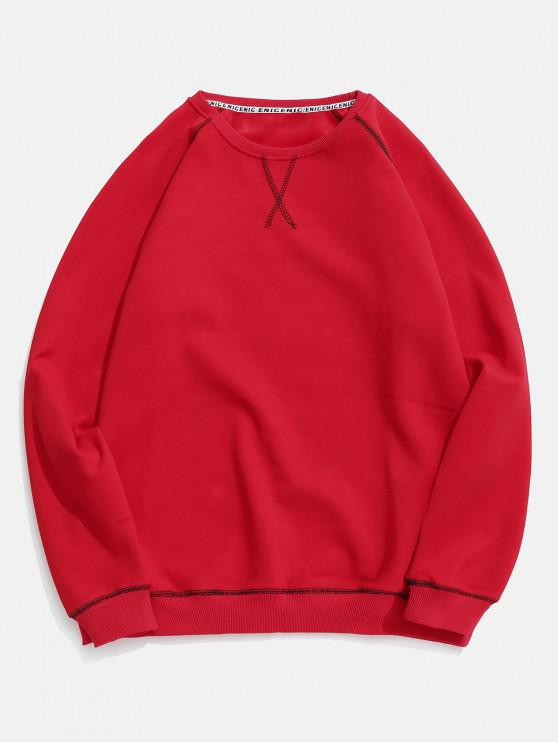 unique Seam Detail Fleece Sweatshirt - RED M