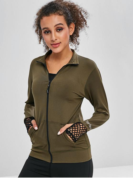 online Fishnet Insert Letter Pocket Jacket - FERN GREEN L