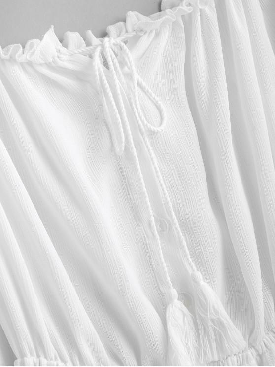 Asymétrique longue Lait S Avec ZafulRobe Mi Blanc Glands 6f7byg