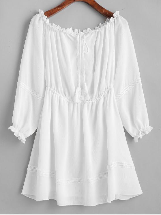 shop ZAFUL Half Buttoned Tassels Off Shoulder Dress - MILK WHITE L