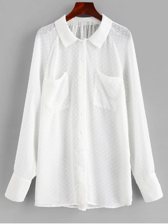 قميص شبه شفاف من جيوب - أبيض L