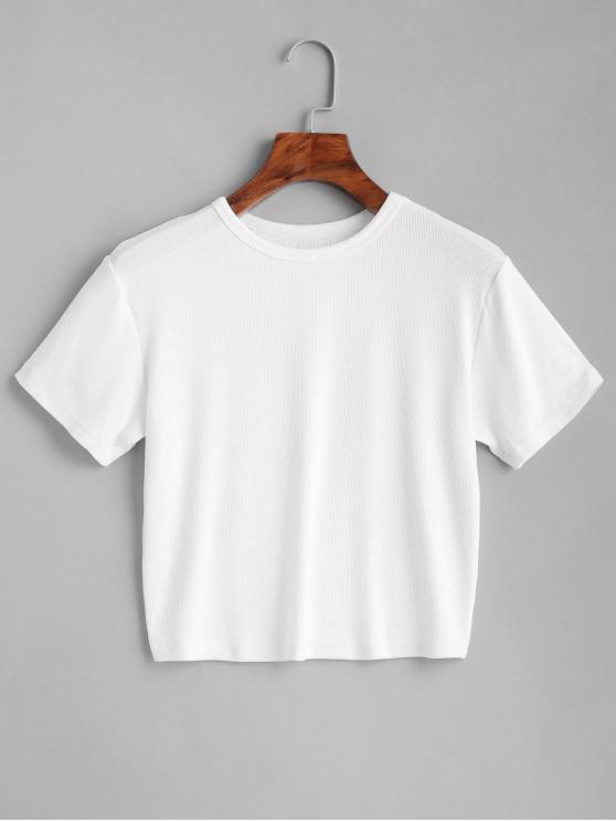 online ZAFUL Plain Cropped Tee - WHITE S