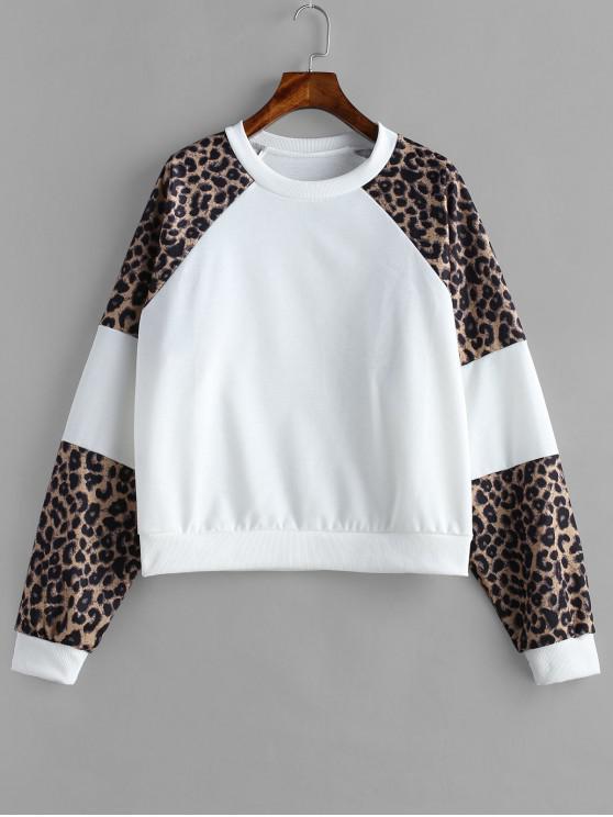 ladies Leopard Panel Sweatshirt - WHITE M