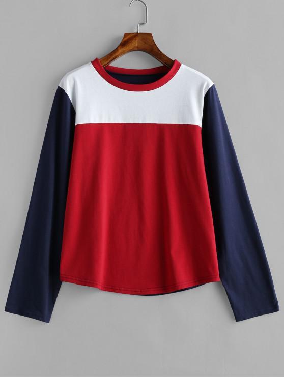 T-Shirt A Contrasto Con Maniche Lunghe - Multi Colori L