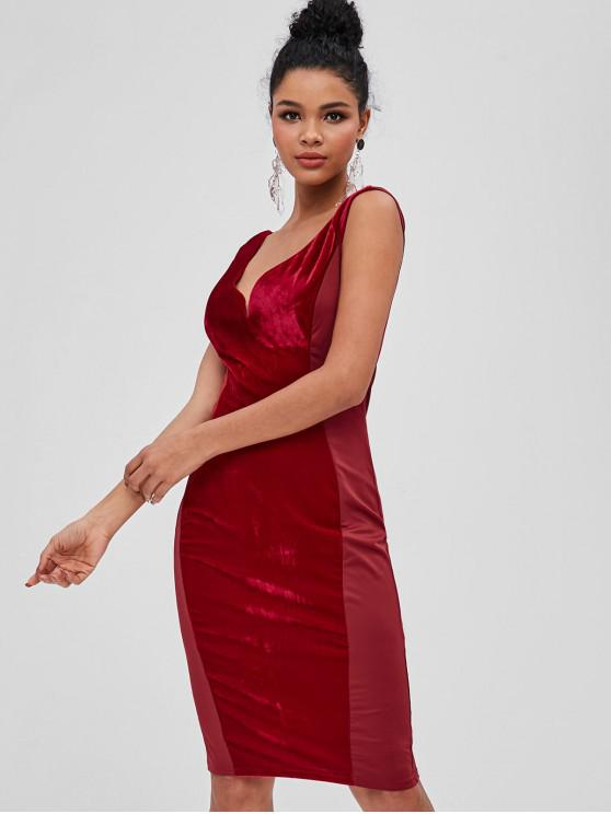 best Velvet Panel Plunge Bodycon Dress - RED WINE M