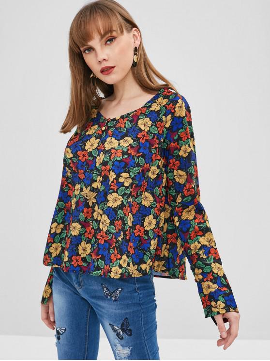 Blusa Floral Con Cuello En V - Multicolor S