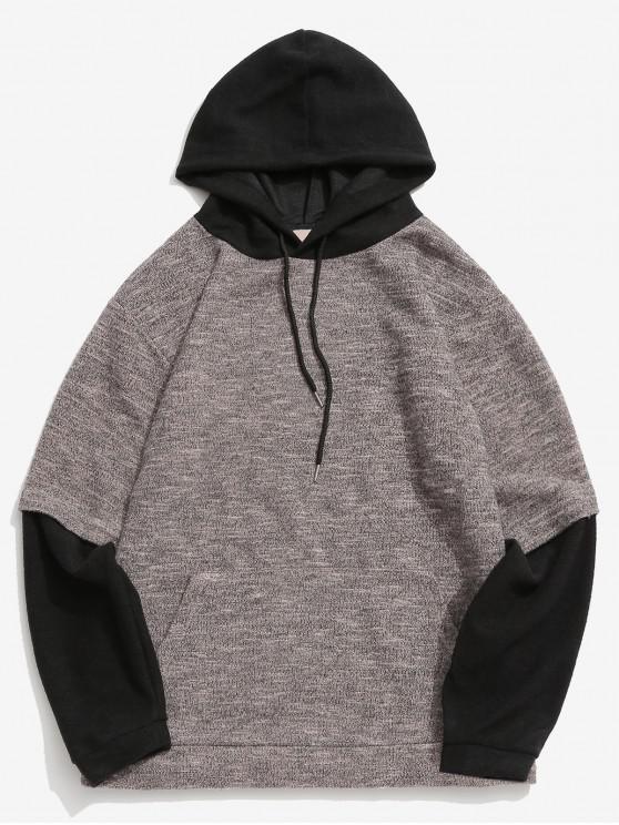 fancy Contrast False Two Piece Hoodie - APRICOT XL