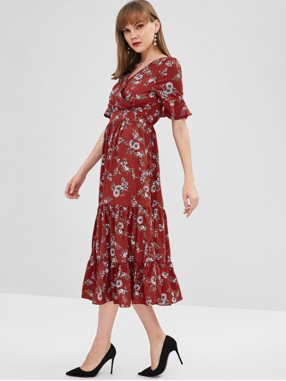 Vestido Midi Surplice Floral A Line - Multicolor S