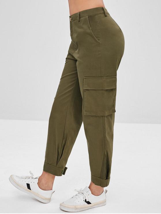 Calças de carga de bolso com zíper - Exército verde M