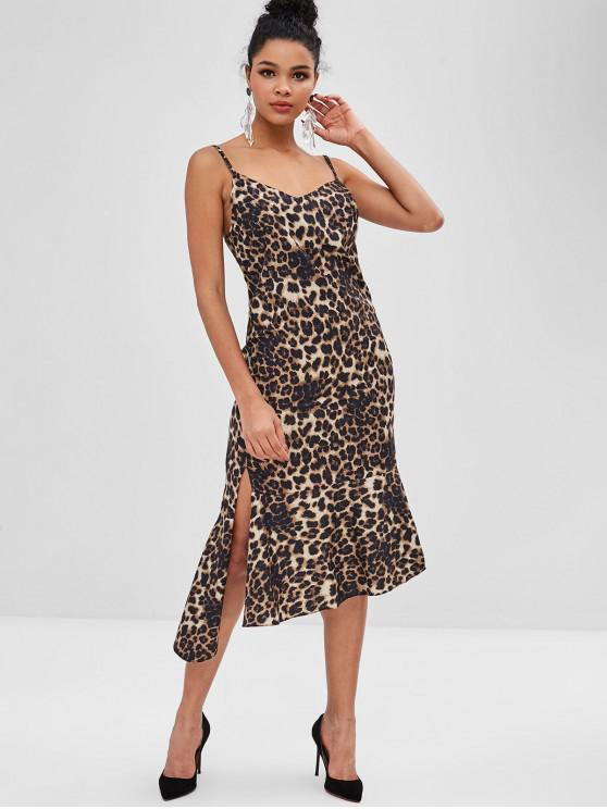 shops Leopard Asymmetrical Midi Slip Dress - LEOPARD ONE SIZE
