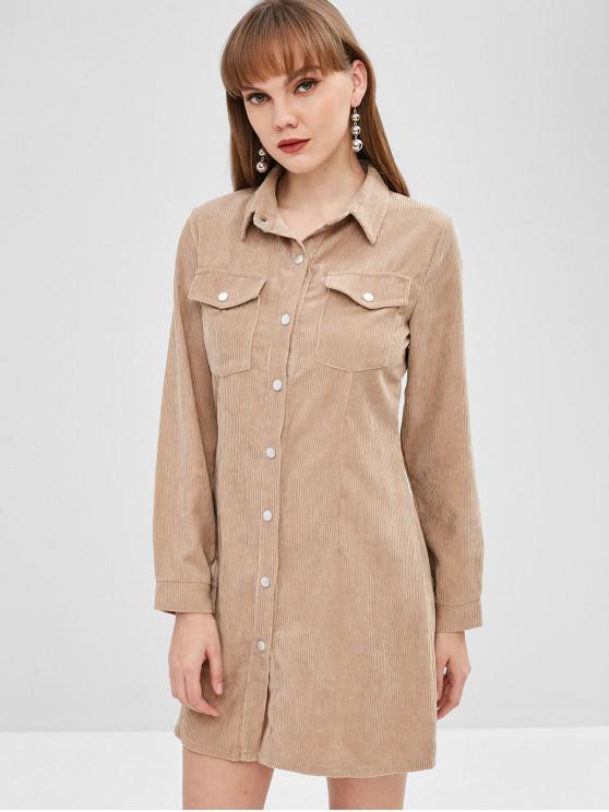 chic Pockets Mini Corduroy Shirt Dress - CAMEL BROWN XL