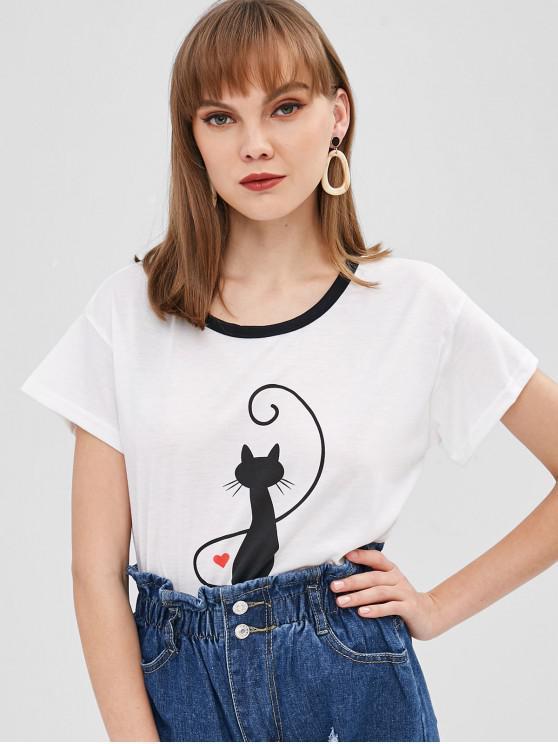 T-shirt do ombro da gota da cópia do gato - Branco XL