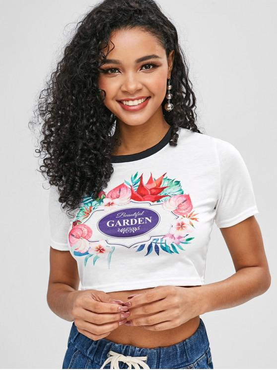 women Flower Letter Graphic Crop T-shirt - WHITE L