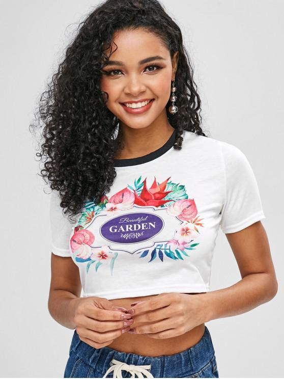 T-shirt Court Lettre Graphique Fleur - Blanc M