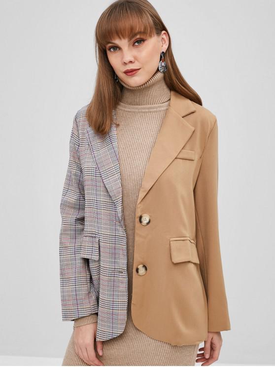 lady Contrast Plaid Button Up Blazer - MULTI XL