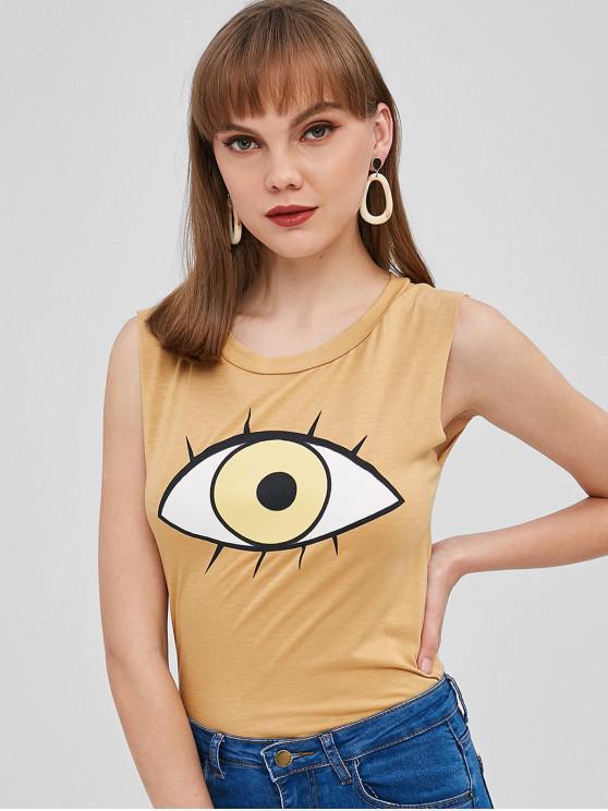Camiseta sin mangas con gráfico de ojos - Color de Madera Talla única