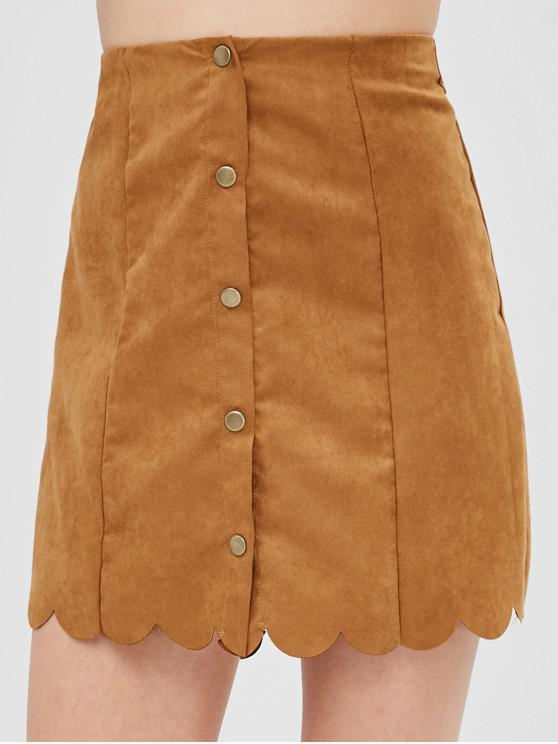 a7ef2d1ae 27% OFF] 2019 Snap Button Scalloped Faux Suede Skirt In CARAMEL | ZAFUL