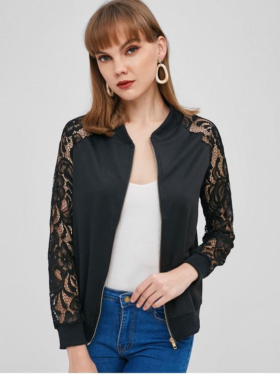 Zip Up Lace Insert Jacket - Preto L
