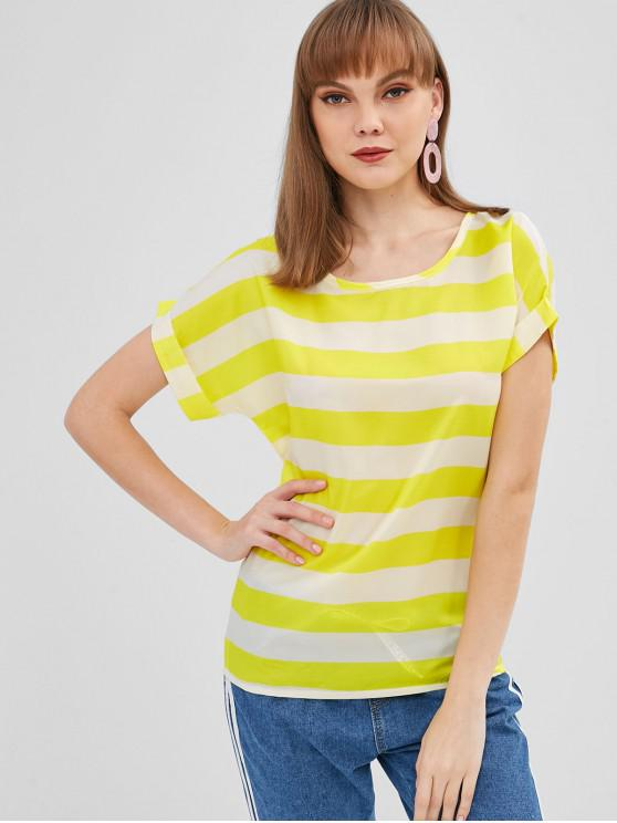 Blusa listrada de manga enrolada - Amarelo Um Tamanho