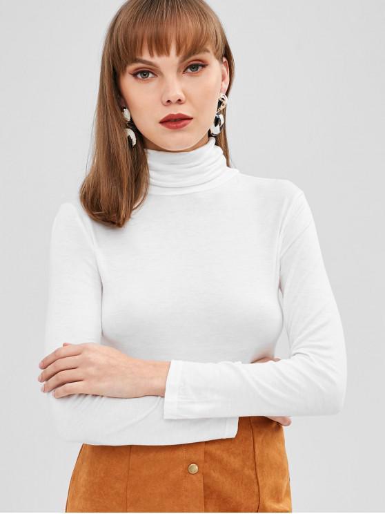 women's Turtleneck Long Sleeve Top - WHITE L