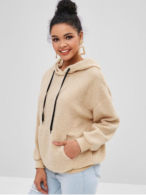 women's Faux Fur Pouch Teddy Oversized Hoodie - CAMEL BROWN L