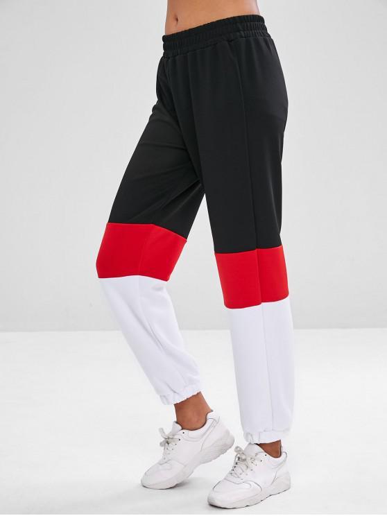 lady Color Block Sport Sweat Pants - RED M
