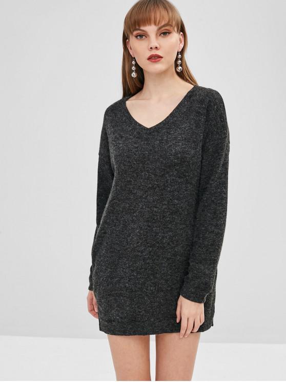 women V Neck Drop Shoulder Straight Sweater Dress - BLACK M