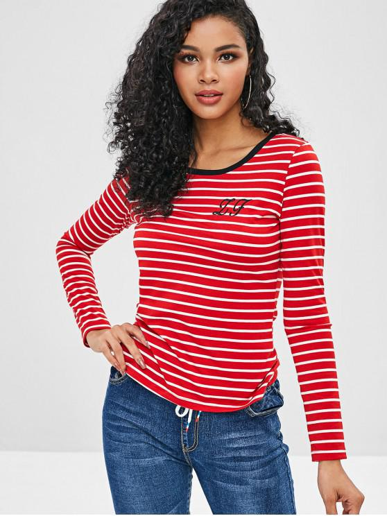 ladies ZAFUL Striped Embroidered Tee - BEAN RED S