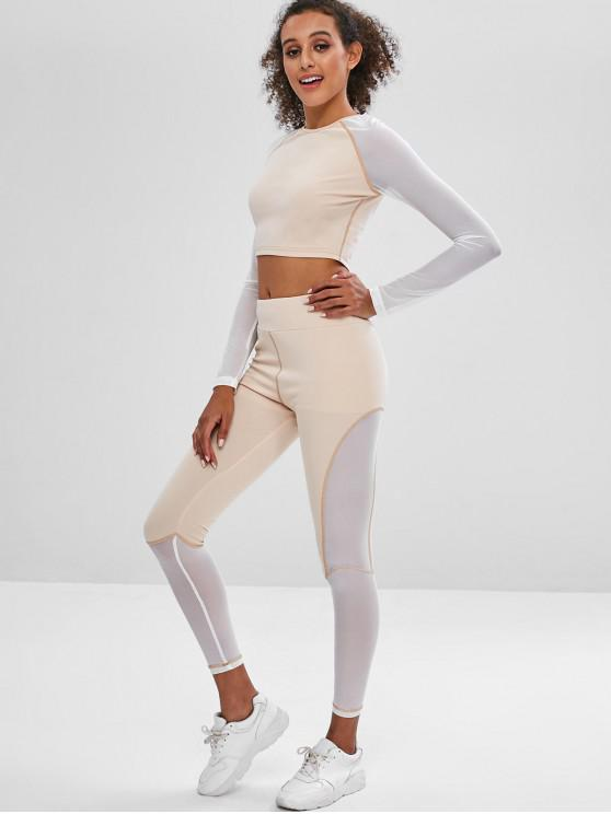affordable Gym Mesh Panel Crop Tee and Leggings Set - APRICOT M