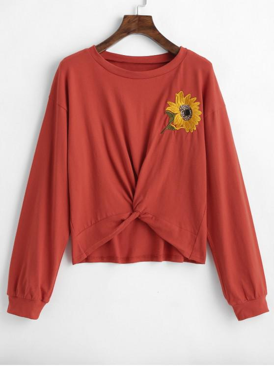 shop ZAFUL Sunflower Embroidered Twist Top - CHESTNUT RED S