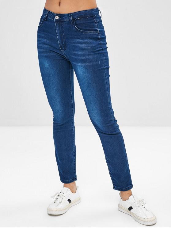affordable Stretchy Straight Jeans - BLUE M