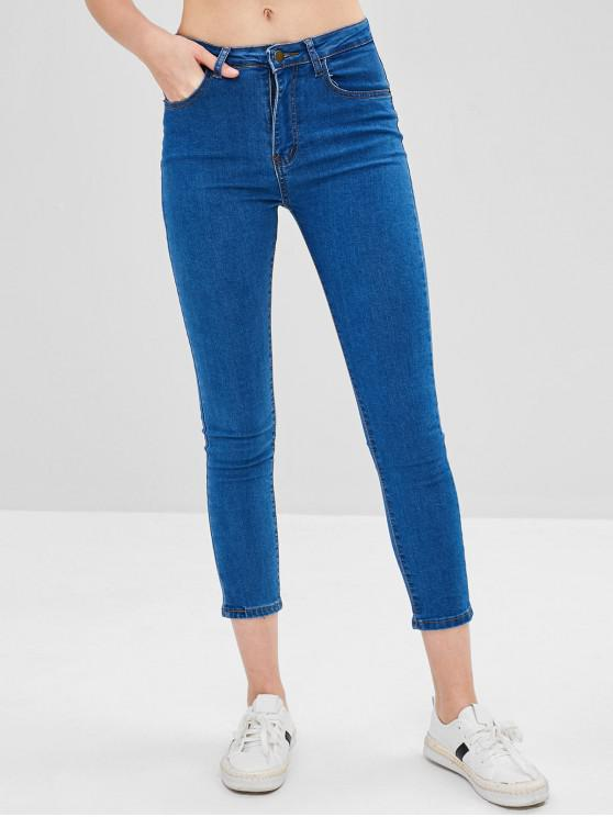 Jeans Aderenti In Tinta Unita - Blu L