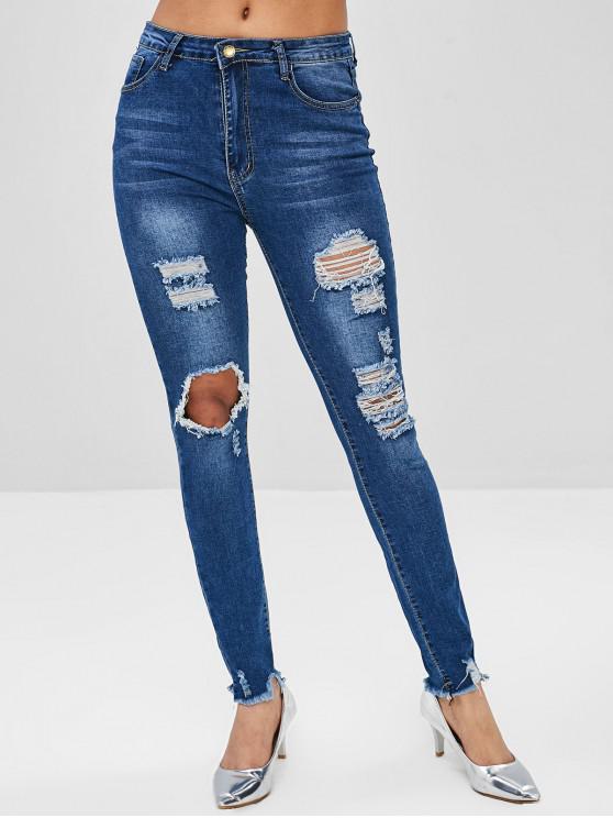 Jeans Strappati Con Tasche Stampate In Pelle Di Serpente - Blu M