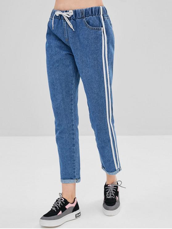 latest Side Striped Drawstring Cuffed Jeans - JEANS BLUE M