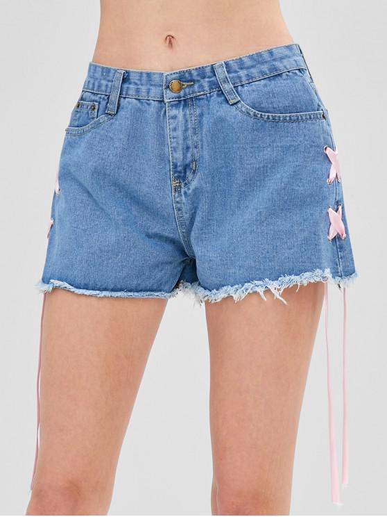 women's Ribbons Lace-up Jean Shorts - DENIM BLUE L