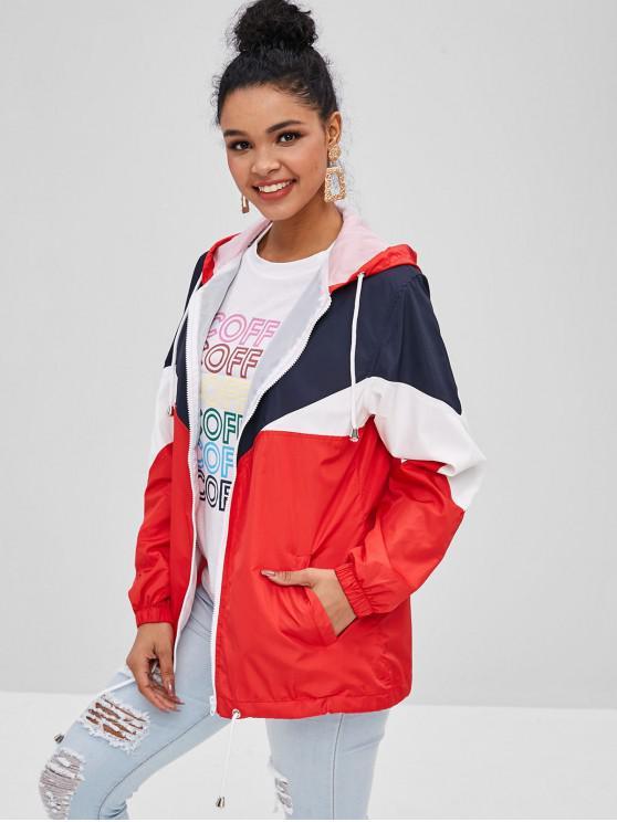 affordable Color Block Drawstring Hooded Coat - MULTI L